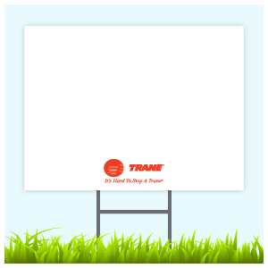 Trane Logo Sign With Wire Frame (Logo Bottom Center)