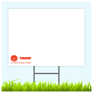 Trane Logo Sign With Wire Frame (Logo Bottom Left)