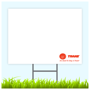 Trane Logo Sign With Wire Frame (Logo Bottom Right)