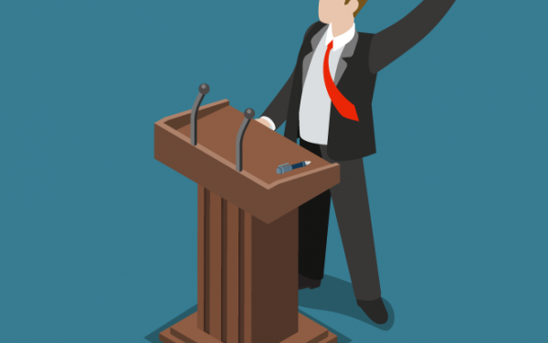 Graphic of Political man making speech for Campaign