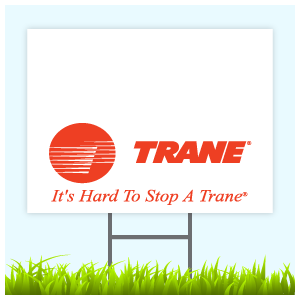 Trane Logo Sign With Wire Frame (Logo Bottom)