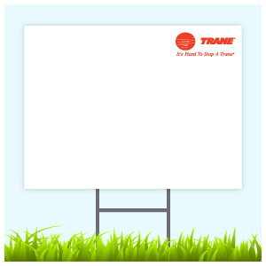 Trane Logo Sign With Wire Frame (Logo Top Right)