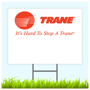 Trane Logo Sign With Wire Frame (Logo Top)